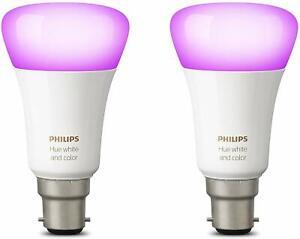 2 X Philips Hue White & Colour Ambiance LED Bulb - B22