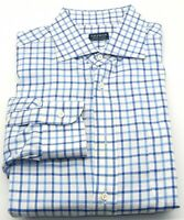 Breuer Men's Made In Italy Blue/White Button Front Long Sleeve Shirt 17/37-38