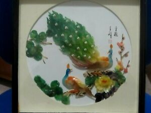 Signed 3D Japanese Painted Shell Collage of Birds and Flowers in a Boxed Frame