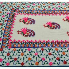 Sanskriti New White Heavy Dupatta Ooak Georgette Hand Embroidered Phulkari Stole