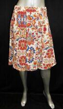 LULAROE NWT Maddison Beige/Red Floral Print Below Knee Full Circle Skirt sz S