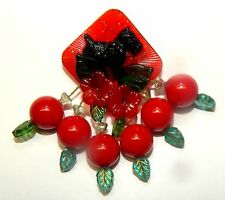 ARTIST Dangling Cherry BROOCH RED Vtg. Sparkly Lucite Chip Black Scotty Dog Pin