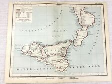 1902 Antique Railway Map of Italy Sicily Palermo Italian Railroad Rail Routes