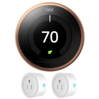 Google Nest Learning Thermostat 3rd Generation (Copper) w/ 2 Pack Wi-Fi Smart Pl