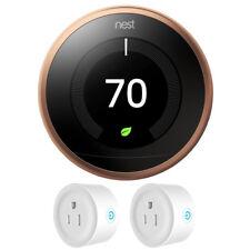 Nest Termostato de aprendizaje 3rd generación (cobre) con paquete de 2 Wi-Fi Smart Plug