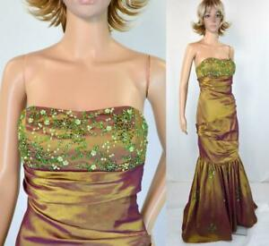 PartyTime Strapless Metallic Gold Shade Shifter Bead Mermaid Formal Prom Dress