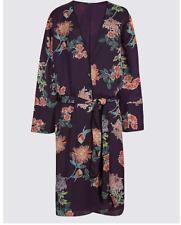 Ladies Purple Floral Long Sleeve Kimono Jacket Top Size 10 EU 38 M&s Ltd Edition