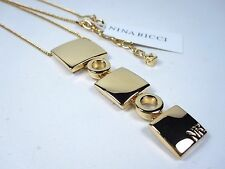 """with adjustable 16""""-18"""" length 0582 Nina Ricci Gold Plated Necklace"""