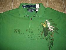 "Custom Fit (XL) POLO-RALPH LAUREN Green ""Repaired"" INDIAN Mesh Polo Shirt"