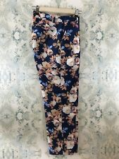 J Crew Collection Blue Silk Blend Cropped Trouser in Antique Floral 0