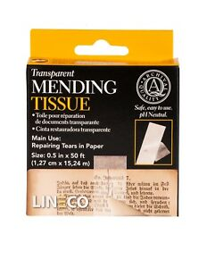 """Lineco Transparent Mending Tissue Tape 1/2""""x 600"""" (15m by 13mm) paper repairs"""