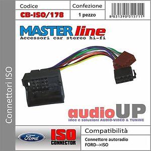 Connettore radio ORIGINALE->ISO altoparlanti+alim. FORD Kuga dal 2008 al 2012.
