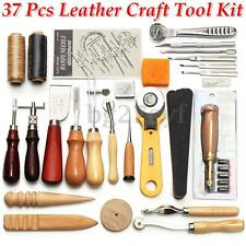 37 Pcs Leather Craft Tools Kit Hand Sewing Stitching Punch Carving Work Saddle