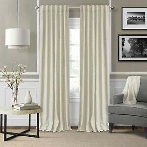 "Blackout Lined Linen Rod Pocket Window Curtain Drape 1 Panel 52"" x 84"" Ivory"