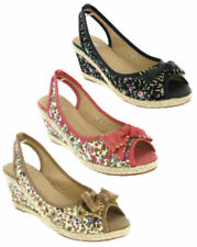 Canvas Wedge Peep Toes Floral Heels for Women