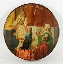 Antique 19th Century Russian Icon Round Egg Tempera Very Rare with Provenance