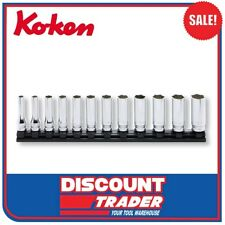 "Koken Z Series Socket Set 3/8"" Dr.12 Peice on Magnetic Rail 7-19mm - RS3300MZ/12"
