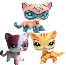 3pcs littlest pet shop LPS figure super hero & orange tiger striped& pink Cat#13