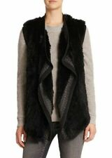 New Vince XS Rex Rabbit Lapin Fur black gray vest knitted wool Nordstrom mink S