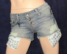 Blue Jeans Hot Pants, heisses Höschen, Hotpants, Blau, Gr. M, mit Nieten