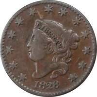 1828 1c Coronet Head Cent Penny US Coin VF Very Fine