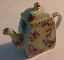 "Vintage~Leonardo Collection Ceramic Novelty Tea Pot`BUTTERFLIES~3 1/2"" Tall"