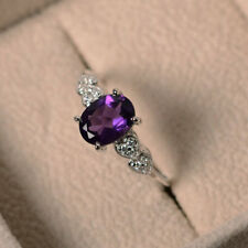 Vintage Style Heart Accents Amethyst Engagement 1.5ct Ring 14k White Gold Over