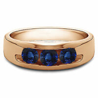 0.35 CT Naturel Diamant Hommes Bleu Saphir 14K or Rose Bague Taille