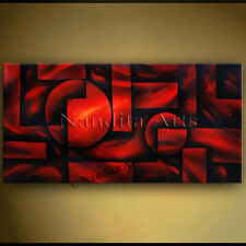 Abstract Original Red Geometric Oil Framed Canvas Antique Painting Wall Art