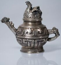 Vintage Chinese Metal Teapot Miniature Size w/ Lid with Mark on Base. Beautiful!
