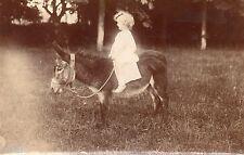 BJ580 Carte Photo vintage card RPPC enfant robe blanche ane poney cheval