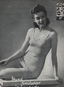 Vintage Knitting Pattern Pretty 1940s Lady's Vest, Knickers & Shorts. Underwear.