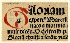 """Inkunabel -/Alter Druck-Fragment, gemalte Initiale """"G"""" um 1500"""