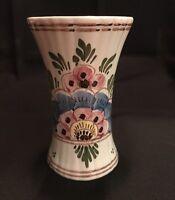 Vintage Delfts Hand Painted Floral Vase With Maker's Mark