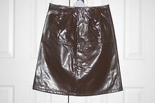 DISTRICT BROWN GLOSSY Faux Leather PVC SKIRT S uk10 us6 eu36 Waist w27ins w69cms