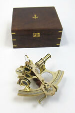 "Large Brass Sextant 9"" w/ Wooden Case Nautical Maritime Astrolabe Boat Decor New"