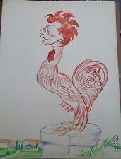 """Georges Bastia caricature Philipe gouache  l'album """"Le Zoo des Vedettes"""" P1029"""