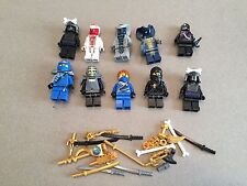LEGO NINJAGO MINIFIG LOT of 10 MINIFIGS 4 Ninjas Weapons Lot U361