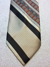 Vintage Damon Mens Tie 4 X 56 Beige, Brown, Orange And Black