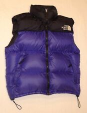 Mens THE NORTH FACE NUPTSE 700 Goose Down Puffer Insulated Vest Hood Large Blue