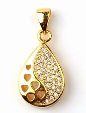 18K Yellow Gold Filled - Hollow Waterdrop Heart Topaz Zircon Women Gems Pendant