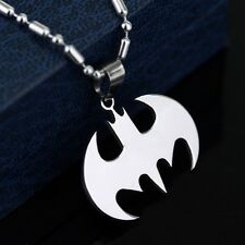 Batman Dark Knight Pendant Necklace Stainless Steel with Chain or Leather Rope