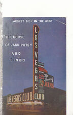 Largest Sign in The West   Las Vagas Club  NV  Mailed 1953  Chrome Postcard 1307
