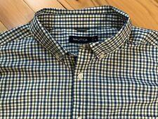 NAUTICA Blue & Cream Check Print Button Front Shirt Sz XL Men 100% Cotton