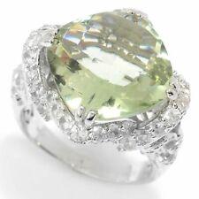 Meher's Jewelry 8.38ct Checkerboard Cut Gemstone White Zircon Silver Ring Size 6