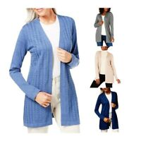 NEW Karen Scott Women's Plus Size Open Front Long Sleeve Duster Cardigan Sweater