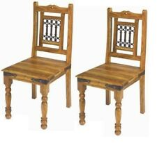 Indian Jali Pair Of Dining Chairs Solid Sheesham Rosewood by Mercers Furniture®