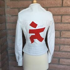 GSUS Sindustries White Leather Bomber Jacket Womens Small Red Kanji Character