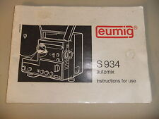Instructions cine movie projector EUMIG S934 automix - CD/Email