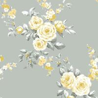 CATHERINE LANSFIELD CANTERBURY FLORAL WALLPAPER GREY / OCHRE MURIVA 165502